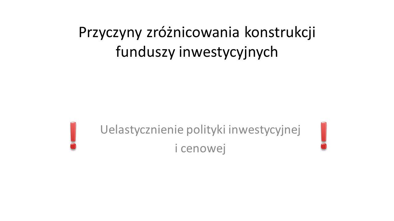 Szczególne formy funduszy Fundusze o różnych typach jednostek uczestnictwa Fundusze z subfunduszami Fundusze podstawowe i powiązane
