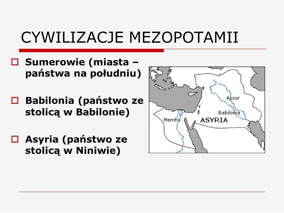 MEZOPOTAMIA - SUMEROWIE  Sumerowie – pierwsi mieszkańcy Mezopotamii, osiedlili się tam w IV tyś.