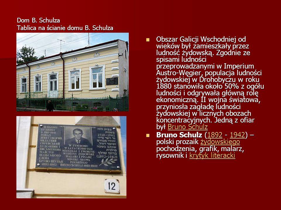 Obchody schulzowskie w Drohobyczu Po raz pierwszy w 1992 roku zebrali się 19 listopada przy miejscu śmierci Brunona Schulza ci, którzy pragnęli oddać cześć wielkiemu pisarzowi i artyście.