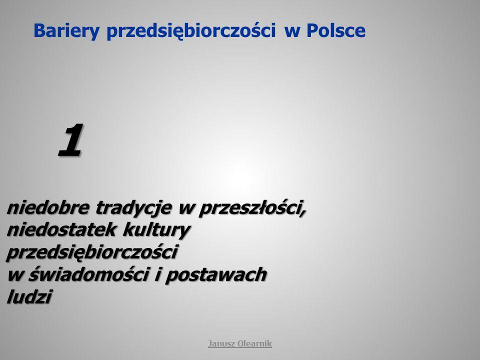 Bariery przedsiębiorczości w Polsce 2 niewystarczający system nauczania przedsiębiorczości na różnych szczeblach edukacji Janusz Olearnik