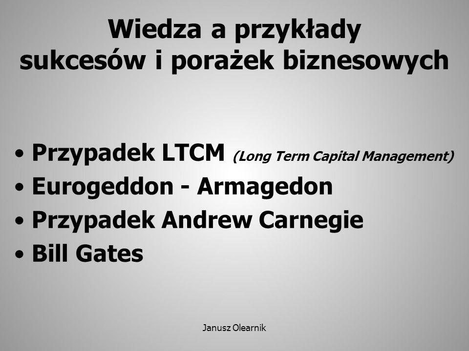 Przypadek LTCM (1994-2000) LTCM – amerykański fundusz inwestycyjny Long Term Capital Management, Specjalność – operacje finansowe oparte na specjalnych modelach finansowych zbudowanych przez zatrudnionych naukowców, w tym 2 laureatów Nagrody Nobla; Początkowy sukces (40% zwrotu), potem krach jako skutek nie przewidzianego kryzysu w Rosji.