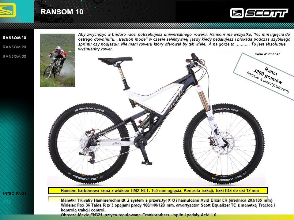 RANSOM 20 RANSOM 10 RANSOM 20 RANSOM 30 INTRO PAGE END Ransom karbonowa rama z włókien HMF NET, ugiecie 165 mm, Kontrola trakcji, mocowanie wym.