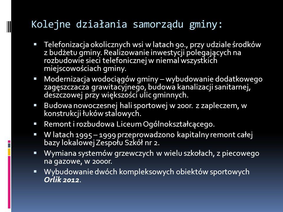 Kolejne działania samorządu gminy:  Telefonizacja okolicznych wsi w latach 90., przy udziale środków z budżetu gminy.