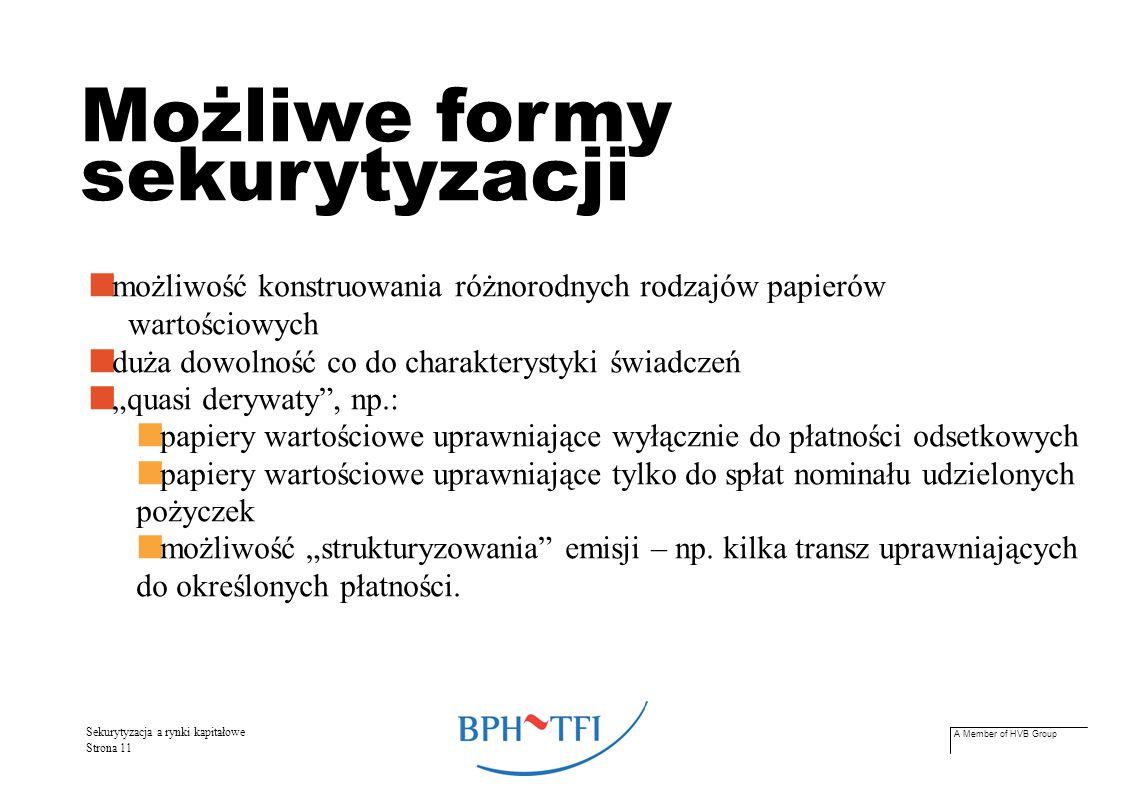 A Member of HVB Group Sekurytyzacja a rynki kapitałowe Strona 12 Co sekurytyzować.