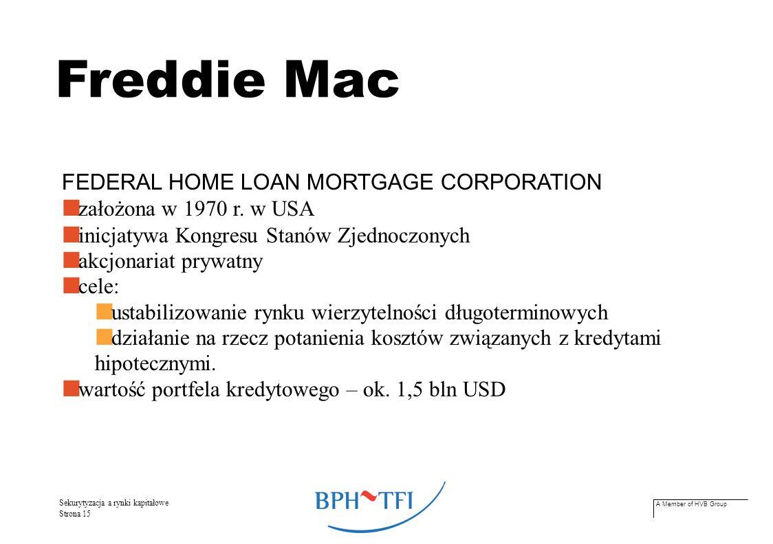 A Member of HVB Group Sekurytyzacja a rynki kapitałowe Strona 16 Freddie Mac – zadania wpływanie na wysokość stóp procentowych, oferowanych na rynku kredytów hipotecznych zwiększanie dostępności kredytów mieszkaniowych poprzez zapewnianiu bankom atrakcyjnego źródła refinansowania wierzytelności poprzez skupowanie udzielonych kredytów.