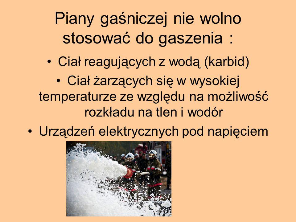 Wody nie wolno używać do gaszenia : Instalacji elektrycznych pod napięciem Płynów łatwopalnych lżejszych od wody Sodu, karbidu, potasu (wydzielają gazy łatwopalne) Wapna palonego ( zwiększa temperaturę) Substancji palących się w postaci żaru Metalowych maszyn i urządzeń