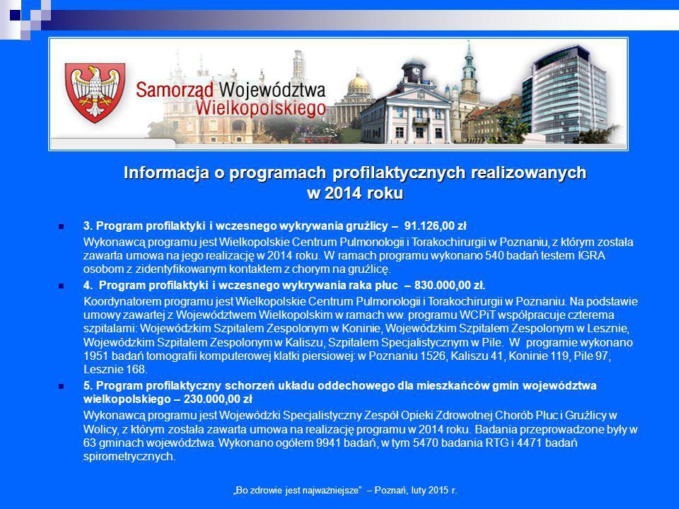 """Informacja o programach profilaktycznych realizowanych w 2014 roku """"Bo zdrowie jest najważniejsze – Poznań, luty 2015 r."""