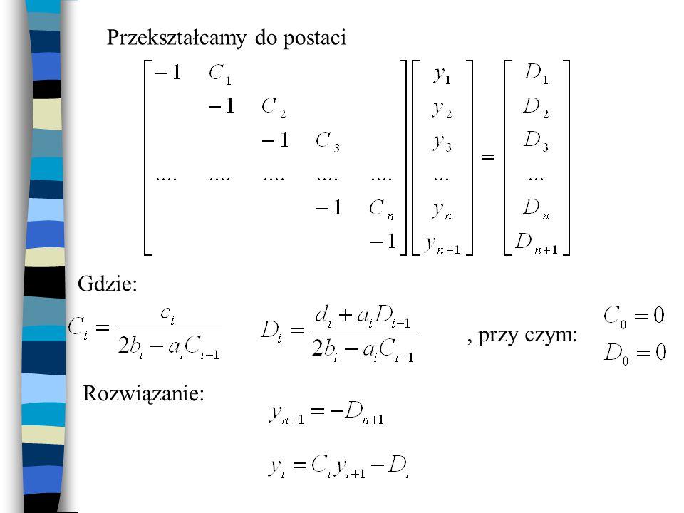 Ekstrapolacja Richardsona Opiera się na metodzie różnicowej Polega na policzeniu wartości funkcji przy kroku h i kroku o połowę krótszym: h/2 Korzysta z założenia, że błąd O(h 2 )~Ah 2 Skorygowana wartość funkcji w węzłach: http://en.wikipedia.org/wiki/Richardson_extrapolation