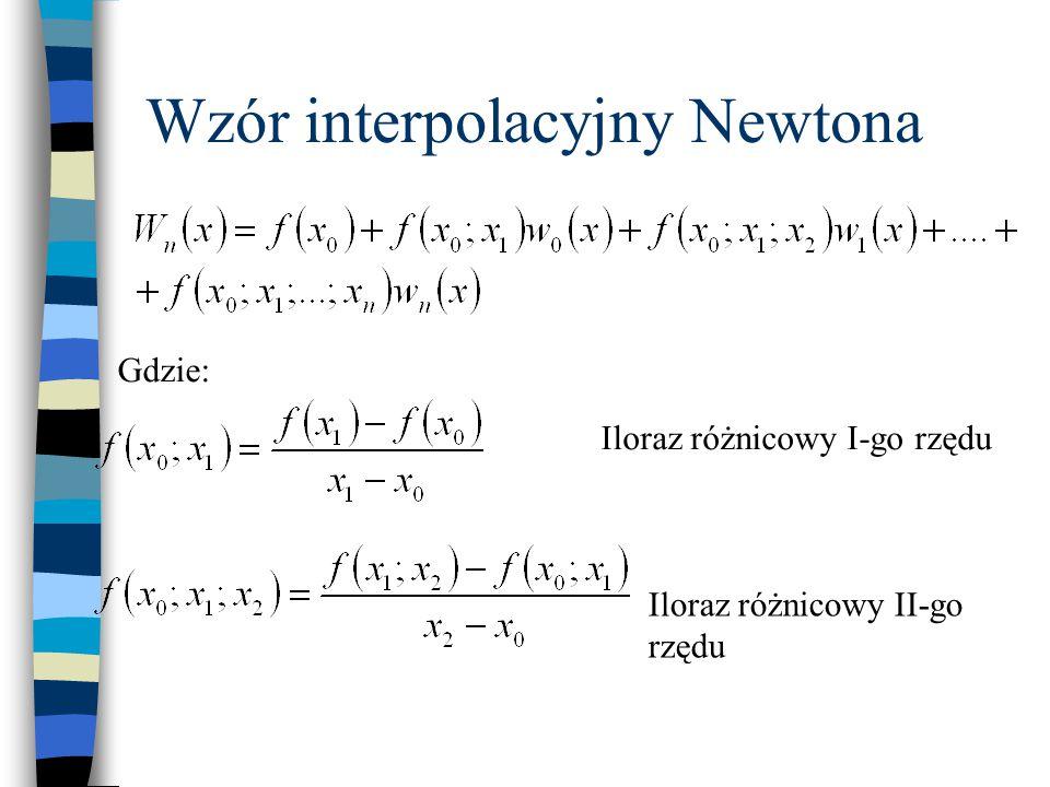 Przykład obliczeń ilorazów różnicowych Iloraz różnicowy I-go rzędu Iloraz różnicowy II-go rzędu Iloraz różnicowy III-go rzędu ixixi f(x i ) f(x i+1 ;x i )f(x i+2 ; x i+1 ;x i )f(x i+3 ; x i+2 ; x i+1 ;x i ) 000 (8-0)/(2-0)=4 128 (19-4)/(3-0)=5 (27-8)/(3-2)=19(10-5)/(5-0)=1 2327 (49-19)/(5-2)=10 (125-27)/(5-3)=49 35125