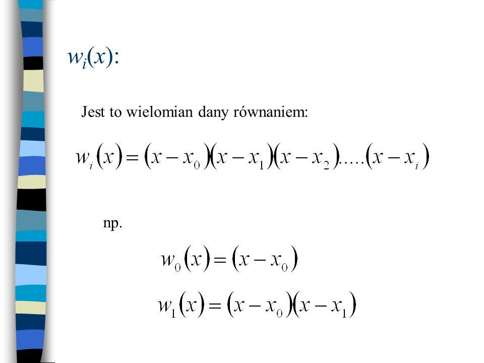 Przykład: napisać wzór interpolacyjny dla funkcji danej tabelą: ixixi f(x i ) 000 128 2327 35125 n = 3: wielomian stopnia 3-go