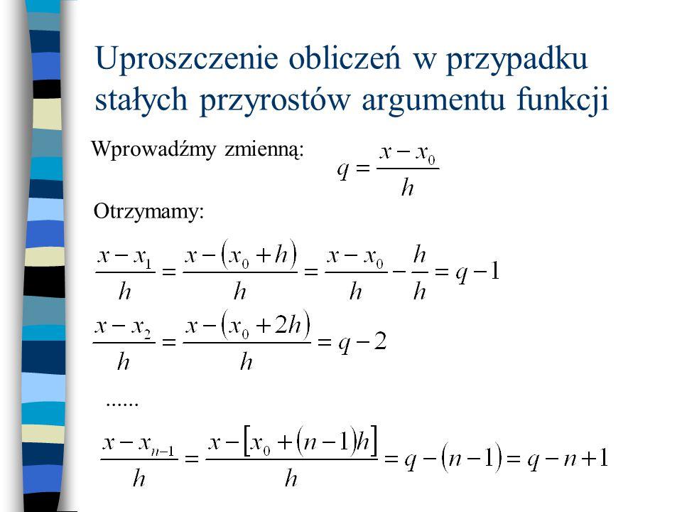 Uproszczenie obliczeń w przypadku stałych przyrostów argumentu funkcji Po podstawieniu do wielomianu: Zalety przekształcenia: 1.Brak konieczności obliczania ilorazów różnicowych 2.Zmienna x jest wprowadzana tylko raz przy obliczeniu q