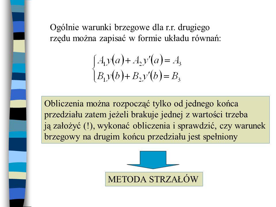 Rozwiązywanie liniowych równań różniczkowych II-go rzędu metodą różnicową Z warunkami brzegowymi: Gdzie a i b to granice przedziału.