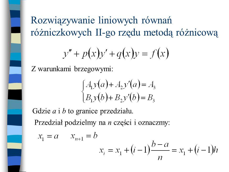 Z podzielania przedziału otrzymujemy regularną siatkę liniową 12inn+1 Dla wewnętrznych węzłów siatki można napisać równania na pochodne obliczane centralnie z O(h 2 ) Oznaczmy: n = 5  10