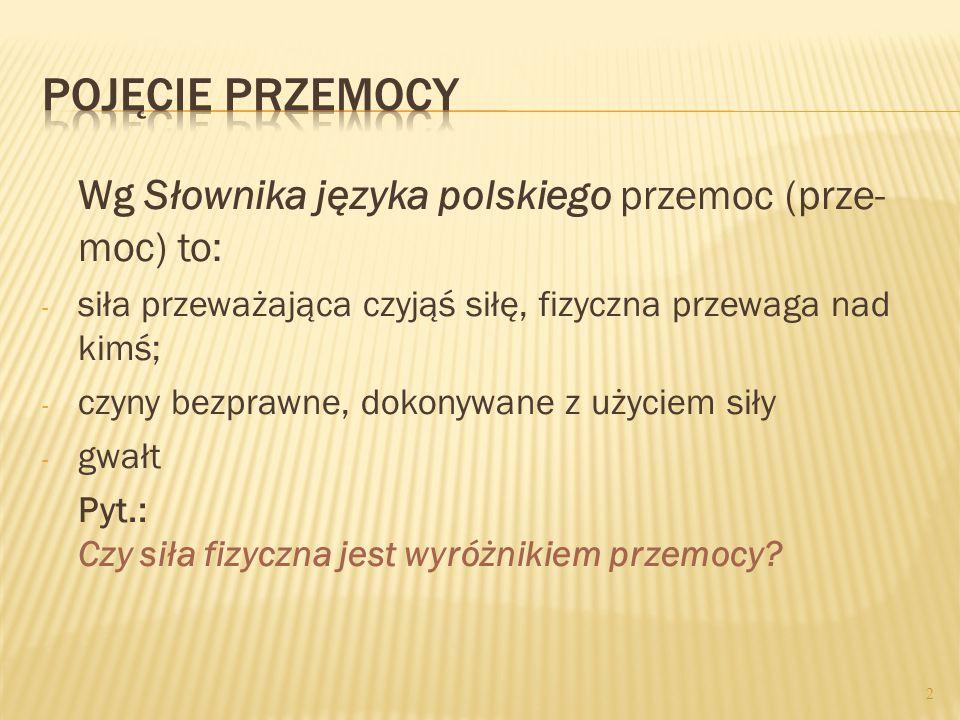 Wg Słownika języka polskiego przemoc (prze- moc) to: - siła przeważająca czyjąś siłę, fizyczna przewaga nad kimś; - czyny bezprawne, dokonywane z użyciem siły - gwałt Pyt.: Czy siła fizyczna jest wyróżnikiem przemocy.