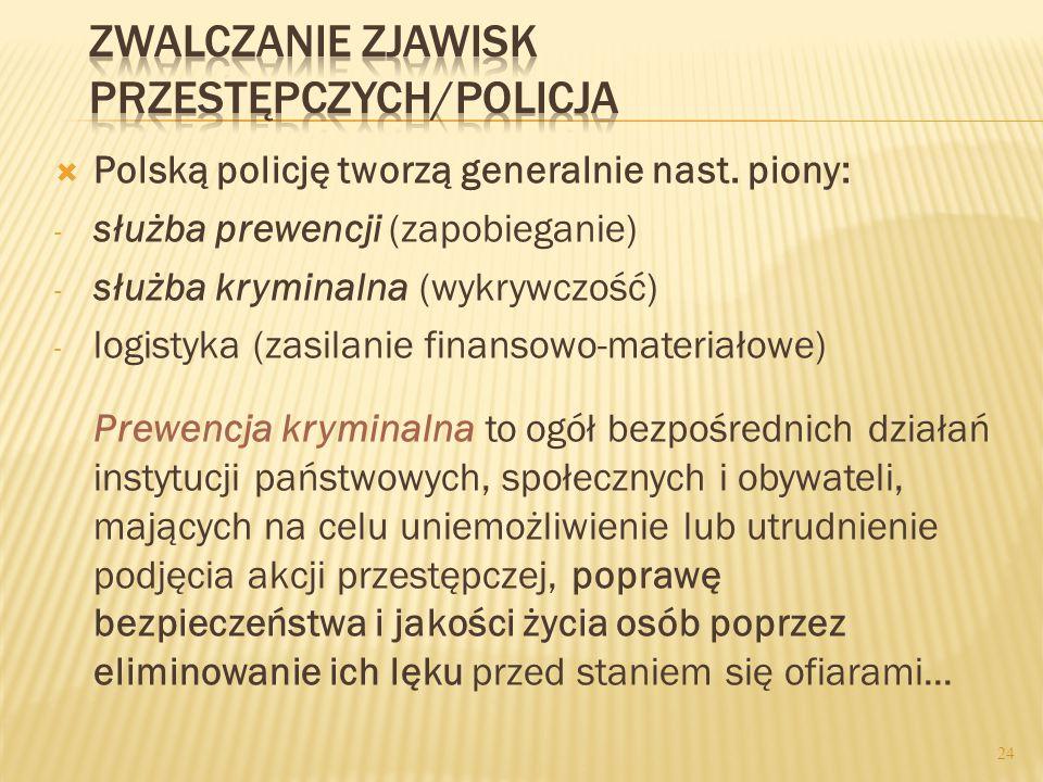  Polską policję tworzą generalnie nast.