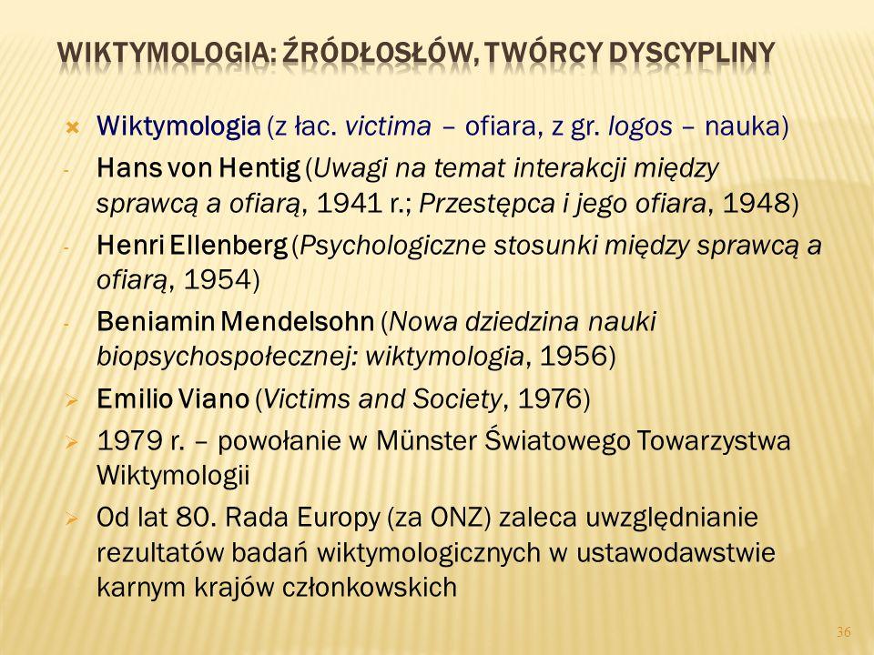 36  Wiktymologia (z łac.victima – ofiara, z gr.
