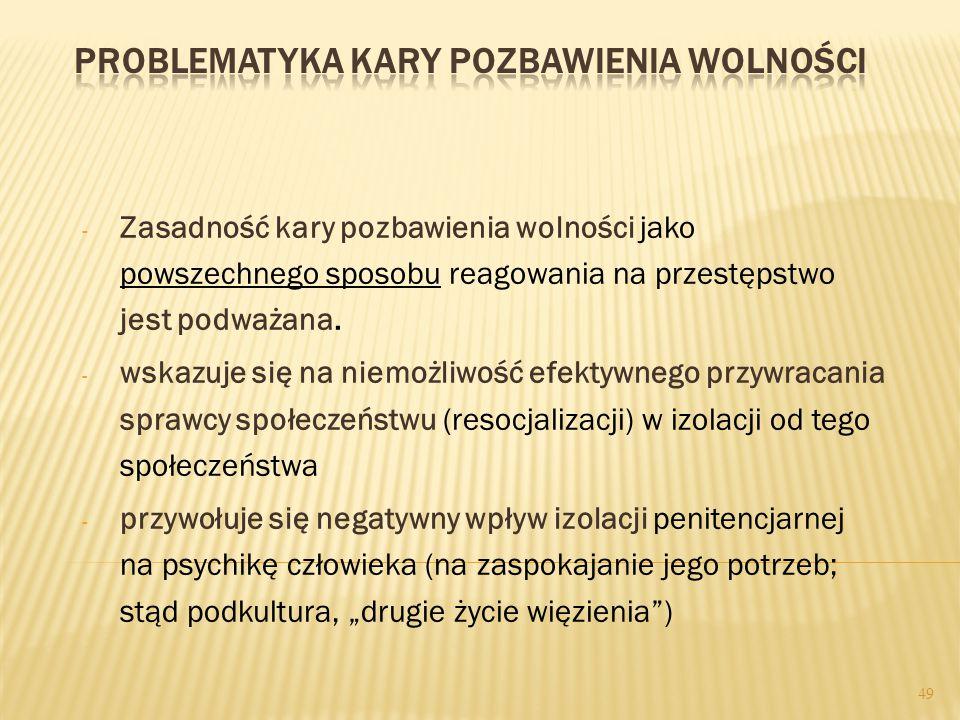 - Zasadność kary pozbawienia wolności jako powszechnego sposobu reagowania na przestępstwo jest podważana.