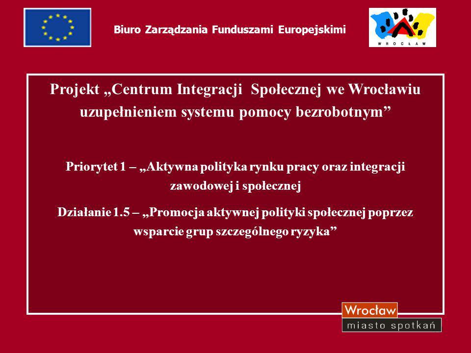 20 Biuro Zarządzania Funduszami Europejskimi Źródła finansowania: Europejski Fundusz SpołecznyEuropejski Fundusz Społeczny Gmina WrocławGmina Wrocław Fundusz PracyFundusz Pracy