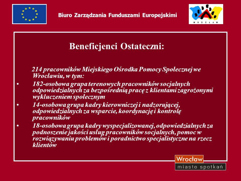 26 Biuro Zarządzania Funduszami Europejskimi Formy wsparcia: FORMY SZKOLENIOWE specjalizacje -I stopnia w zawodzie pracownika socjalnego -II stopnia w zawodzie pracownika socjalnego (praca z osobami uzależnionymi) szkolenia zewnętrzne -grupowe -indywidualne (specjalistyczne) -merytoryczne (z zakresu pomocy społecznej) -w zakresie umiejętności psychospołecznych FORMY EDUKACYJNE GÓLNODOSTĘPNE superwizja psychologiczna - zewnętrzna -indywidualna -grupowa Forum Wymiany Doświadczeń -jako miejsce wymiany doświadczeń i wzajemnego wsparcia pracowników praca w zespołach interdyscyplinarnych -w celu rozwiązywania spraw najtrudniejszych