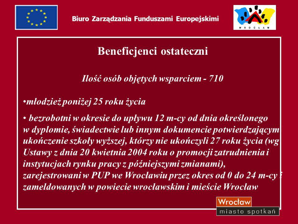 30 Biuro Zarządzania Funduszami Europejskimi Dotychczasowe rezultaty: działania związane z promocją projektu rekrutacja beneficjentów ostatecznych organizacja biura projektu zatrudnienie personelu do wdrażania projektu zrealizowano 4 edycje szkoleń z zakresu kontraktu socjalnego rozpoczęto realizację 3 indywidualnych szkoleń specjalistycznych zrealizowano formy dobrowolne, wspierające beneficjentów ostatecznych: 20 superwizji indywidualnych, 2 superwizje grupowe zamówienia publiczne związane z wyborem firm szkoleniowych, personelu Biura Projektu