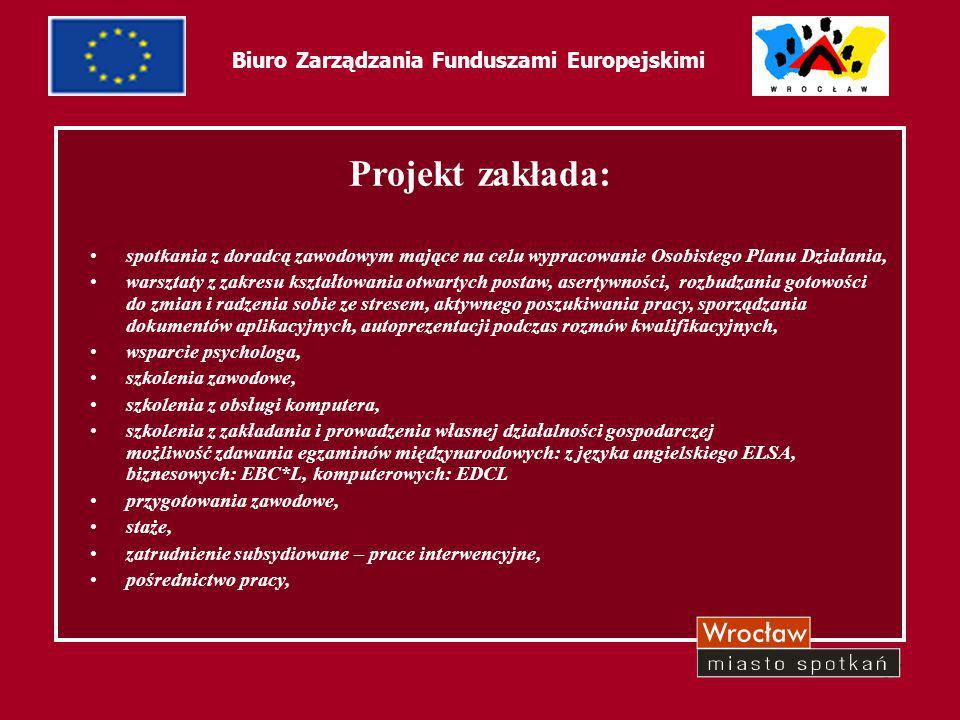 38 Biuro Zarządzania Funduszami Europejskimi Dotychczasowe rezultaty: W projekcie bierze udział 153 Beneficjentów Ostatecznych, z tego: 61 osób wzięło udział w warsztatach aktywizujących, 87 beneficjentów zostało objętych szkoleniami zawodowymi, 33 osoby skorzystały z przygotowania zawodowego w miejscu pracy 3 podjęły pracę w ramach prac interwencyjnych 35 osób podjęło pracę.
