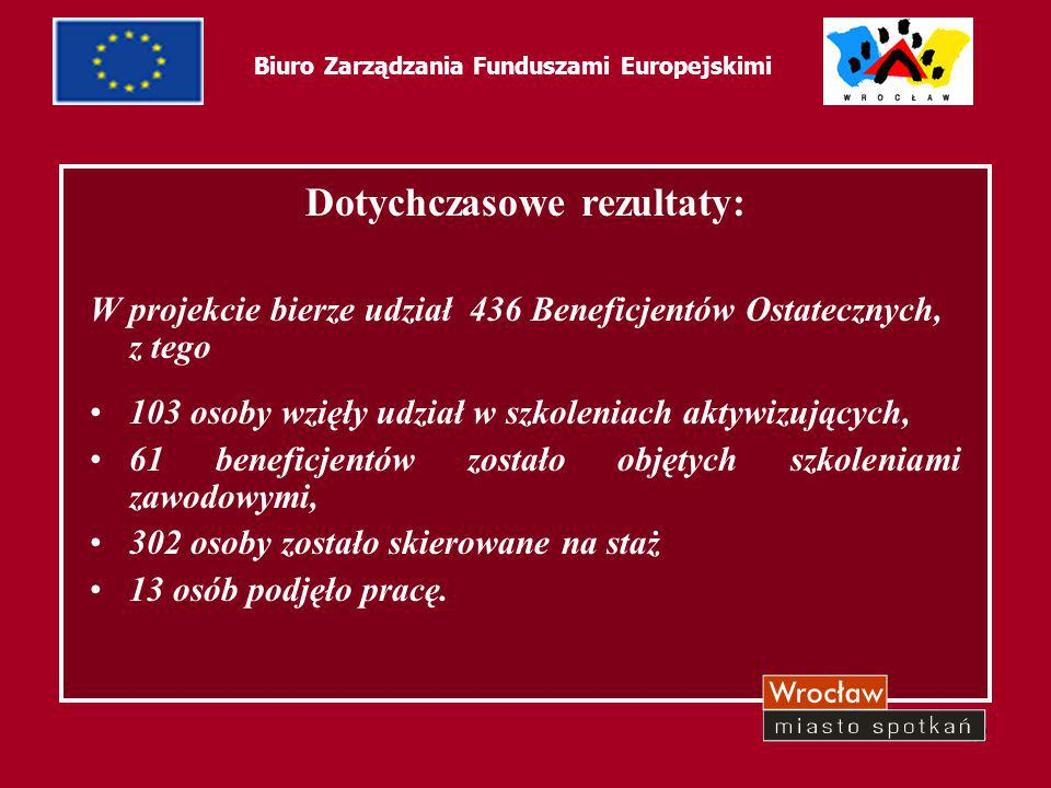 43 Biuro Zarządzania Funduszami Europejskimi Dotychczasowe rezultaty: