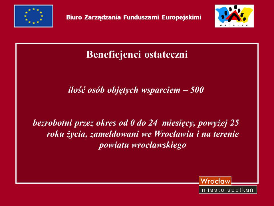 46 Biuro Zarządzania Funduszami Europejskimi Projekt zakłada: szkolenia aktywizujące szkolenia zawodowe możliwość zdawania egzaminów międzynarodowych: z języka angielskiego ELSA, biznesowych: EBC*L, komputerowych: EDCL przygotowania zawodowe dotacje na rozpoczęcie działalności gospodarczej
