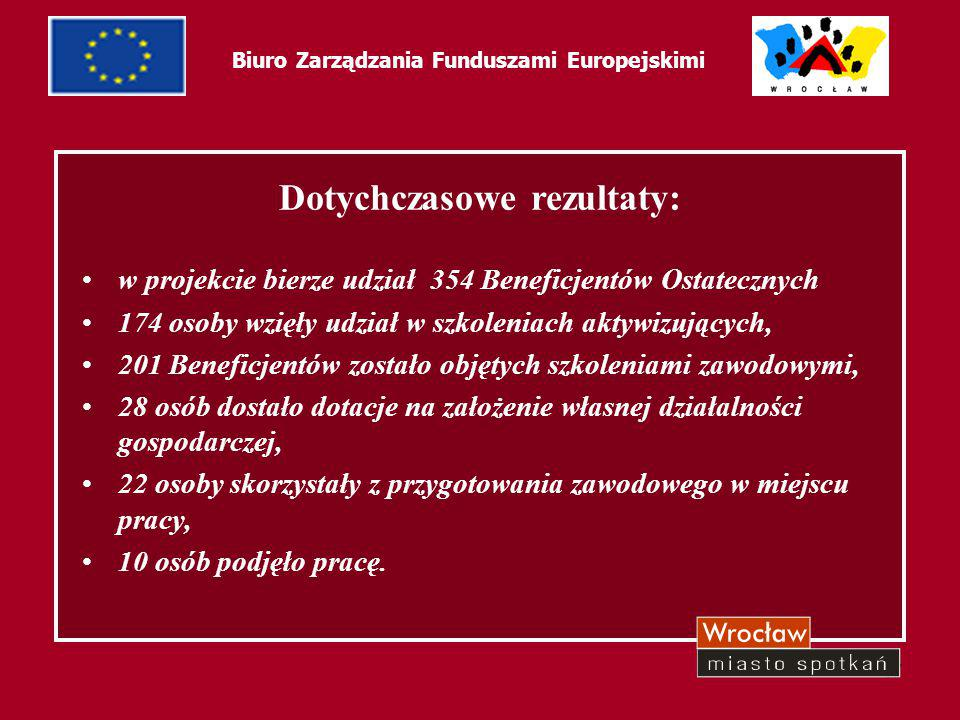 48 Biuro Zarządzania Funduszami Europejskimi Dotychczasowe rezultaty: