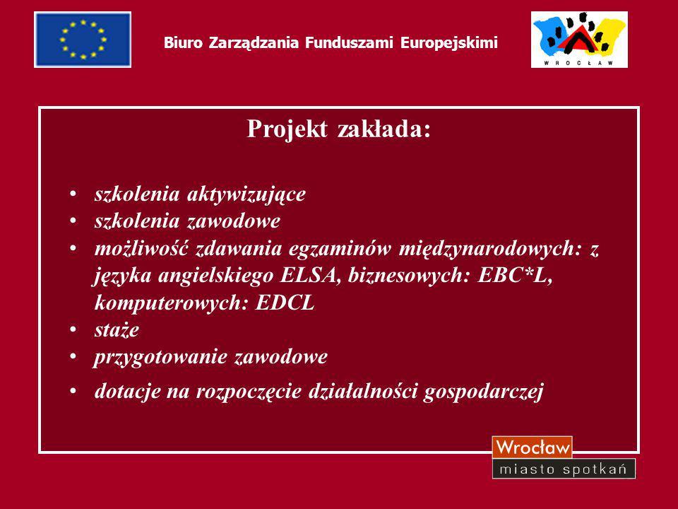 57 Biuro Zarządzania Funduszami Europejskimi Ilość osób jaka bierze udział w programie - 490 290 zostało objętych stażami.