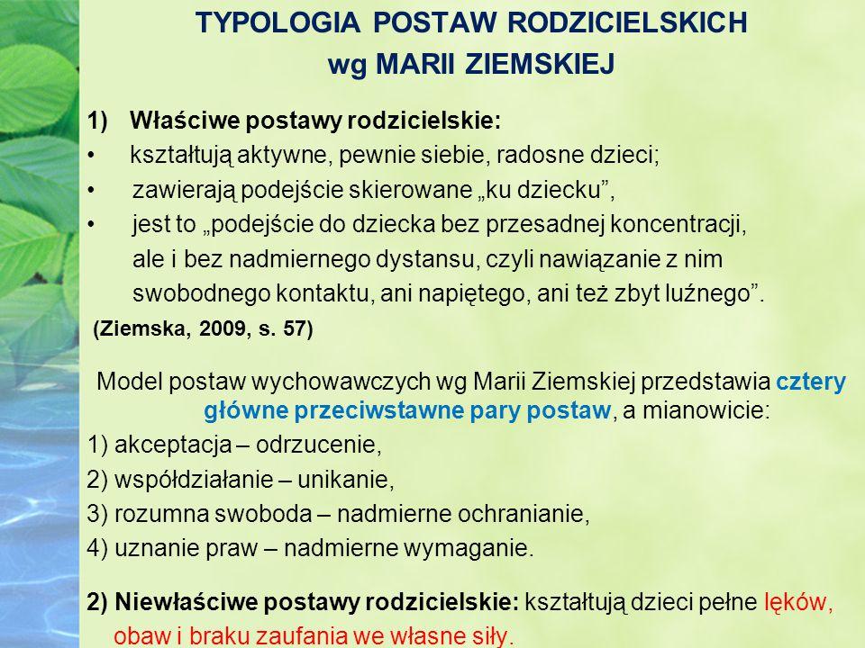 Model typologii postaw rodzicielskich właściwych i niewłaściwych (M.Ziemska, Postawy rodzicielskie i ich wpływ na osobowość dziecka, Warszawa PWN,1986,s.74 )