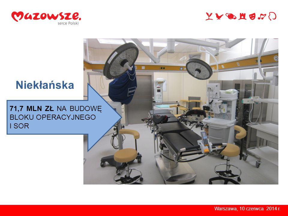 Warszawa, 10 czerwca 2014 r. 4,7 MLN ZŁ NA SPRZĘT MEDYCZNY Niekłańska
