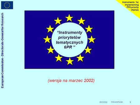 05/03/2002 European Commission - Directorate-General for Research Instruments.doc 1 Instruments for implementing FP6 priority themes Instrumenty priorytetów.