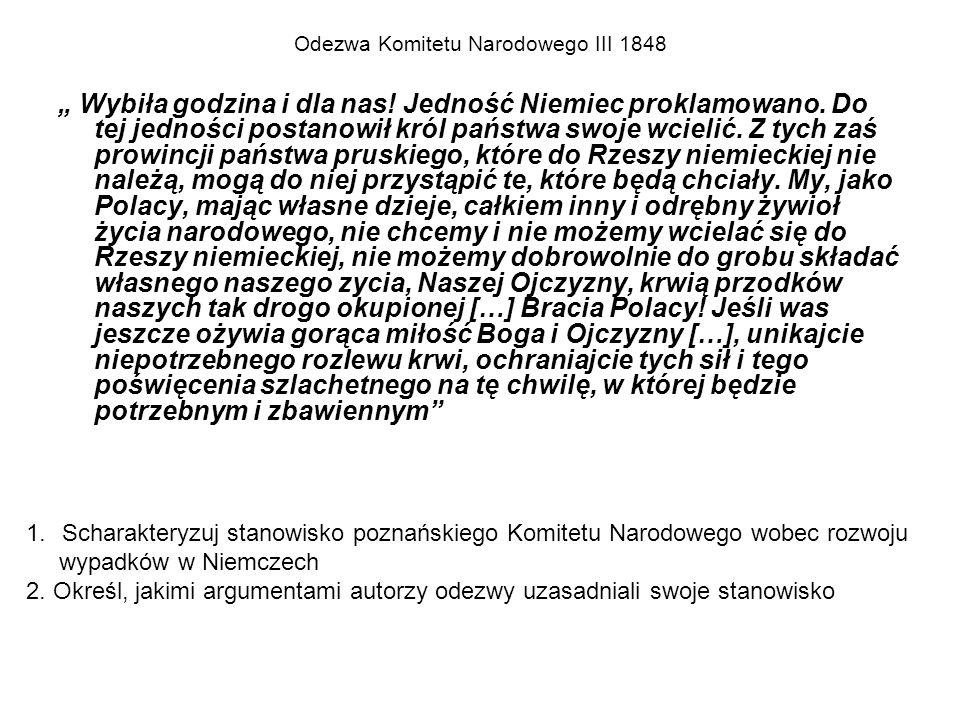 PRZEBIEG WIOSNY LUDÓW W WIELKIM KSIĘSTWIE POZNAŃSKIM (1848)  Utworzenie Komitetu Narodowego Poznańskiego ( 20 III – na wieść o rewolucji w Berlinie, który: -uzyskał spolszczenie administracji i nadanie uprawnień językowych -Stworzył korpus wojska polskiego( 6-7 tys.