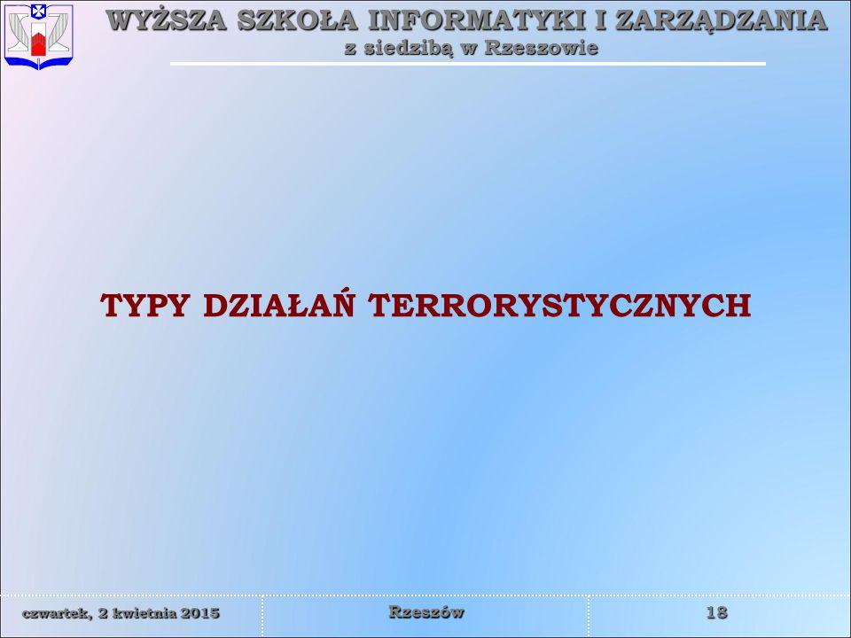 WYŻSZA SZKOŁA INFORMATYKI I ZARZĄDZANIA z siedzibą w Rzeszowie 19 czwartek, 2 kwietnia 2015czwartek, 2 kwietnia 2015czwartek, 2 kwietnia 2015czwartek, 2 kwietnia 2015 Rzeszów akty terroru popełniane przez osoby pozostające w służbie państwowej i zawczasu przygotowane min.