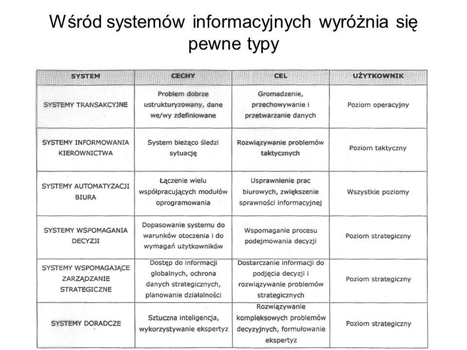 Wśród systemów informacyjnych wyróżnia się pewne typy