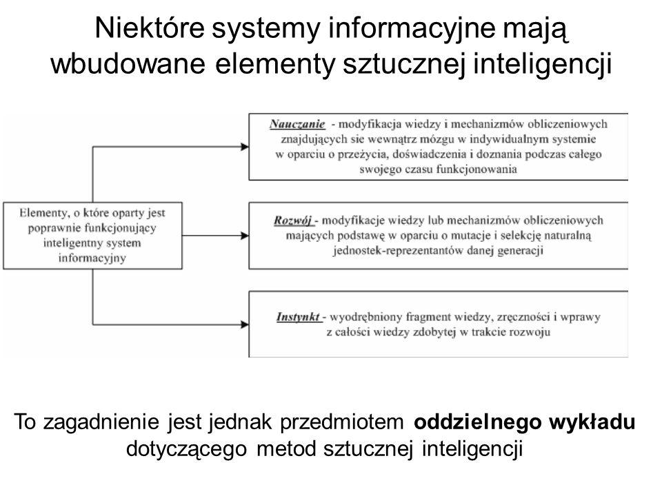 Niektóre systemy informacyjne mają wbudowane elementy sztucznej inteligencji To zagadnienie jest jednak przedmiotem oddzielnego wykładu dotyczącego metod sztucznej inteligencji