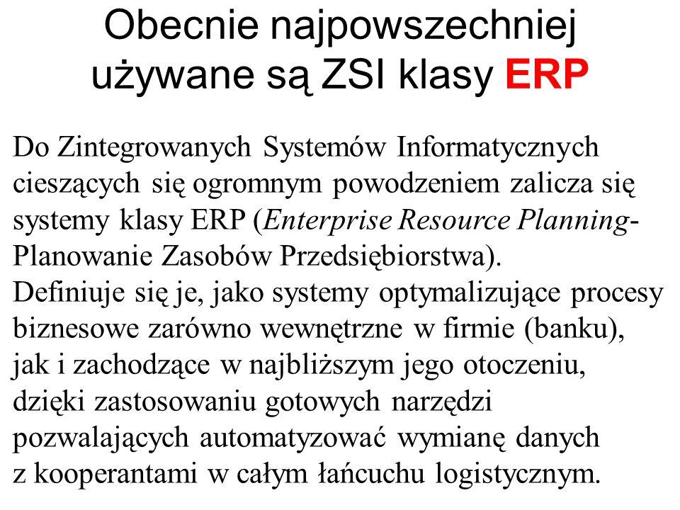 Obecnie najpowszechniej używane są ZSI klasy ERP Do Zintegrowanych Systemów Informatycznych cieszących się ogromnym powodzeniem zalicza się systemy klasy ERP (Enterprise Resource Planning- Planowanie Zasobów Przedsiębiorstwa).