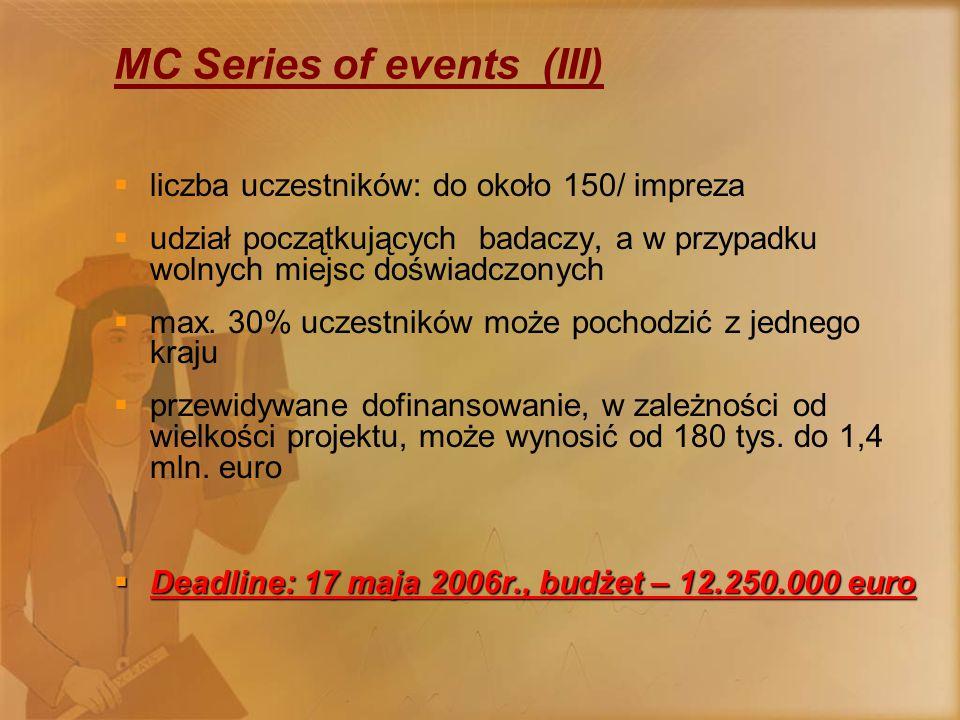 MC Large Conferences  jeden projekt na jedną międzynarodową konferencję  liczba uczestników powyżej 150  udział początkujących badaczy, a w przypadku wolnych miejsc doświadczonych (KE finansuje udział tylko młodych badaczy)  dofinansowanie około 50 000 euro  możliwość organizacji w kraju trzecim