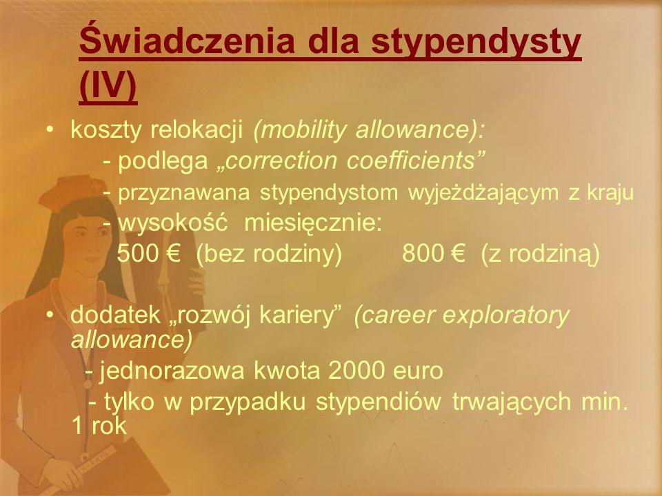 """Świadczenia dla stypendysty (V) dodatek """"badawczy (""""expenses of participating ) - koszty związane z badaniami, uczestnictwem w szkoleniach, konferencjach..."""