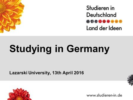 Studying in Germany Lazarski University, 13th April 2016.
