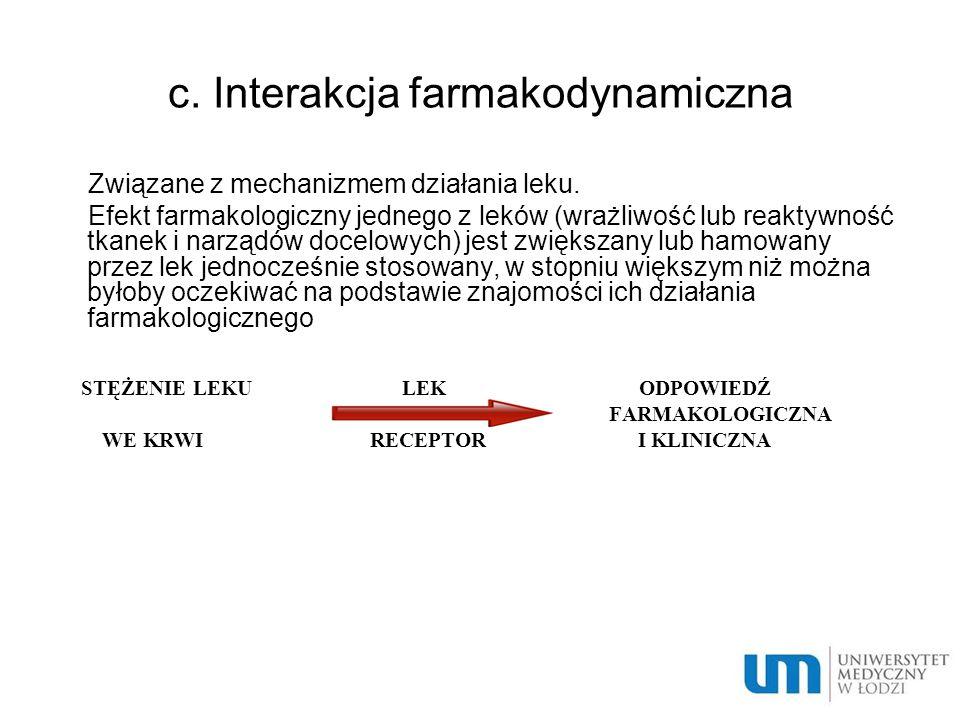 Skutki interakcji leków Zmiana siły lub czasu działania: - nasilenie działania - osłabienie działania - wydłużenie działania - skrócenie działania Niepożądane niezamierzona szkodliwa zmiana działania leku Pożądane celowe wykorzystanie interakcji w terapii (antidotum w zatruciach)