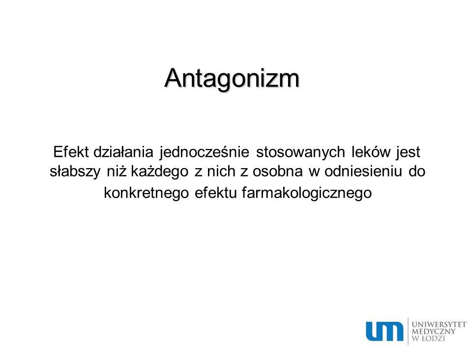 Antagonizm – przykłady: Osłabienie przez NLPZ efektu hipotensyjnego: - inhibitorów konwertazy angiotensysny - diuretyków - β – adrenolityków Odtrutki: heparyna- siarczan protaminy morfina – nalokson …
