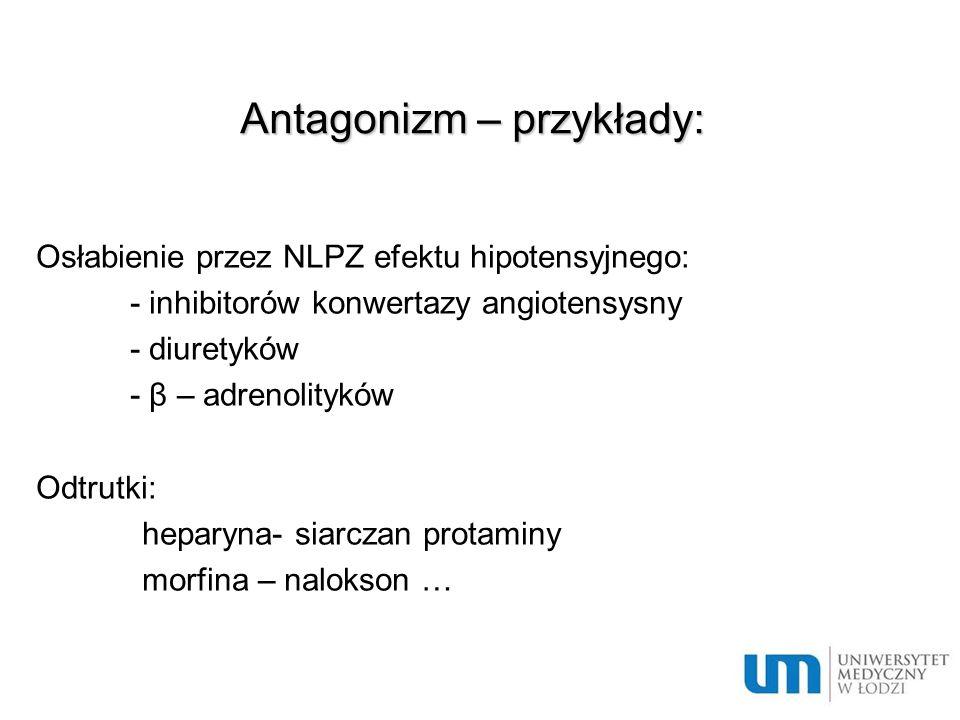 Interakcje – pozostałe przykłady - nasilenie oto- i nefrotoksyczności aminoglikozydów przez diuretyki pętlowe - nasilenie zwiotczenia mięśni po lekach zwiotczających przez aminogikozydy - nasilenie toksyczności digoksyny przez leki sprzyjające hiperkalcemii i hipokaliemii - wzrost ryzyka hiperkaliemii przy skojarzeniu inhibitorów konwertazy, sartanów i diuretyków oszczędzających potas