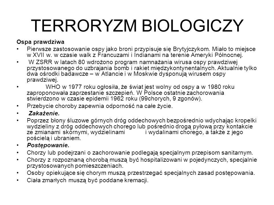 TERRORYZM BIOLOGICZNY OGÓLNE, PODSTAWOWE ZASADY OCHRONY.