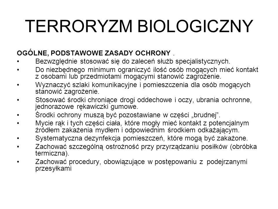 TERRORYZM BIOLOGICZNY Wąglik.Jako możliwa broń biologiczna jest badana od około 80 lat.