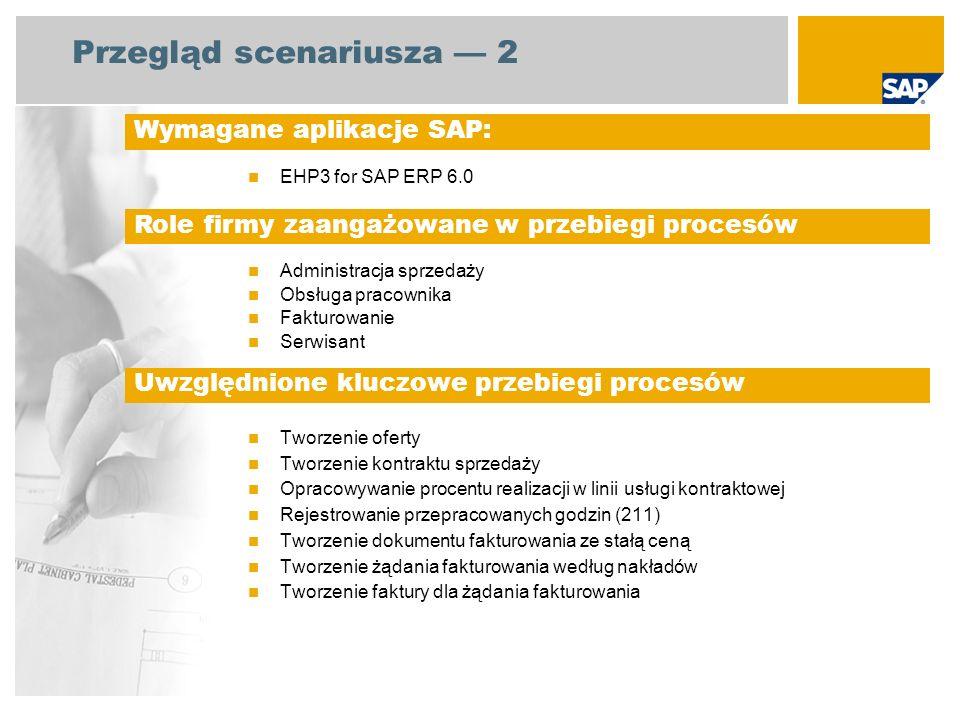 Przegląd scenariusza 3 Kontrakt sprzedaży ze stałą ceną i rozliczeniem czasu i materiału Dokument sprzedaży w formie kontraktu sprzedaży stanowi kluczowy komponent procesu, ponieważ formalizuje wymagania klienta, gromadzi koszty robocizny oraz generuje czas i materiał rozliczenia.