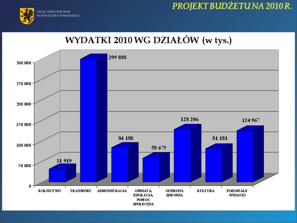 GŁÓWNY PRIORYTET NA ROK 2010: REALIZACJA WIELOLETNICH PROGRAMÓW INWESTYCYJNYCH ORAZ ZADAŃ WSPÓŁFINANSOWANYCH Z UE