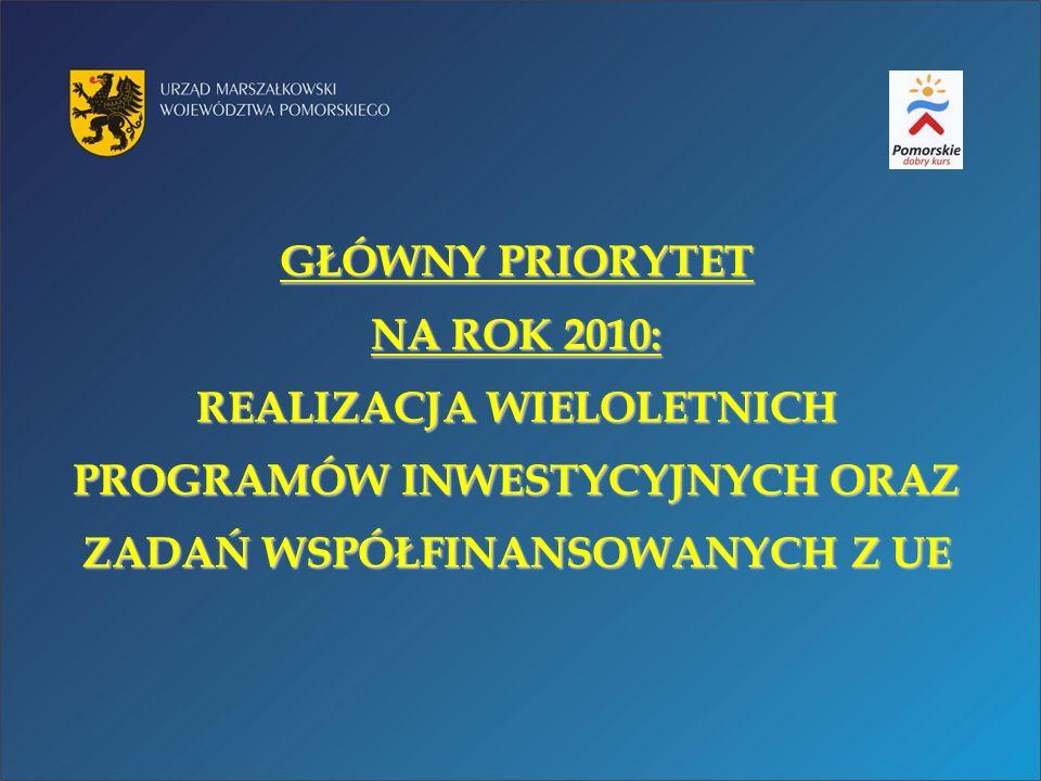 WIELOLETNIE PROGRAMY INWESTYCYJNE ŁĄCZNA WARTOŚĆ w 2010 r.