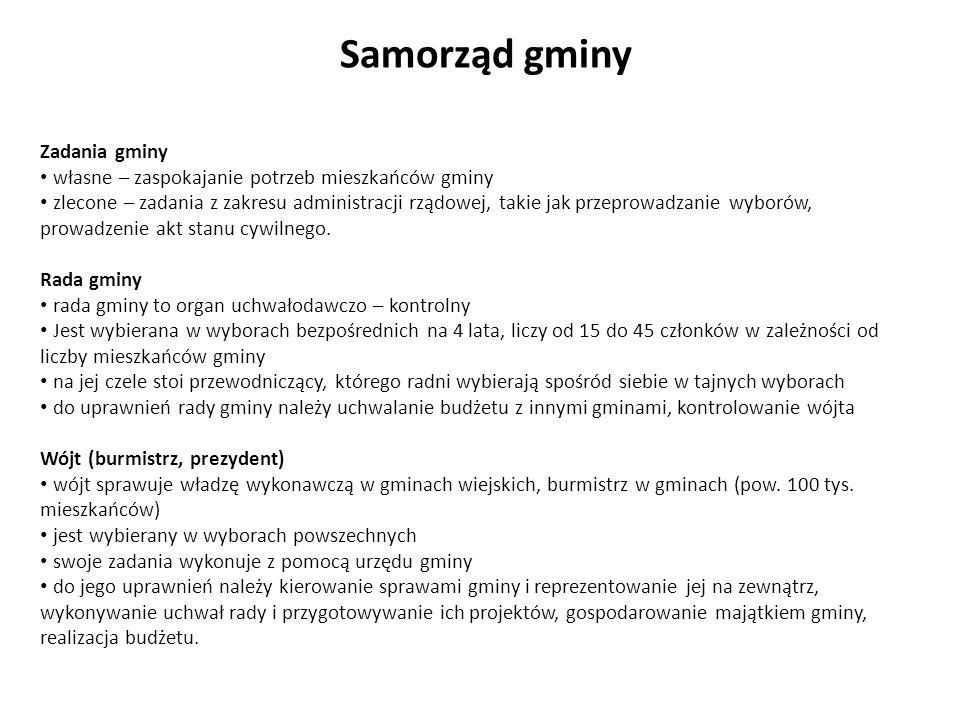 Samorząd powiatowy Powiaty w Polsce Powiat to wspólnota samorządowa oraz jednostka podziału terytorialnego obejmująca kilka gmin (powiat ziemski) lub teren miasta, które jest gminą na prawach powiatu (powiat grodzki).