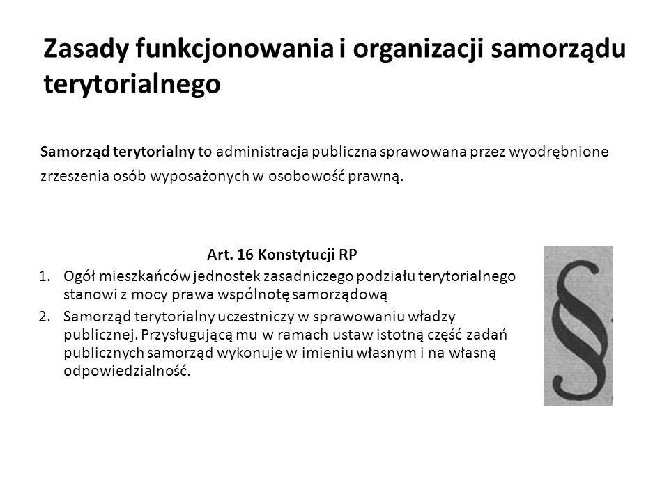 Zasady ustrojowe dotyczące samorządności W Konstytucji Rzeczypospolitej Polskiej zapisano demokratyczną zasadę ustrojową, na podstawie której zostały zbudowane struktury terytorialne.
